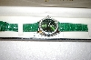 *MBA #17-303  Genevex Ladies Swarovski Crystal Green Watch