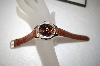 *MBA #17-298  Genevex Ladies Swarovski Crystal Brown Leather Strap Watch