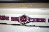 *MBA #17-314  Genevex Ladies Swarovski Crystal Purple Leather strap Watch
