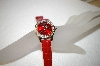 *MBA #17-307  Genevex Ladies Swarvoski Crystal Red Leather Strap Watch