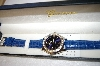 *MBA #17-288  Genevex Ladies Swarvoski Crystal Blue Leather Strap Watch
