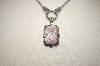 **MBA #17-177  Suspicion Pink Mother Of Pearl Marcasite Enhancer With Matching Chain