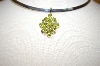 "**MBA #17-142  ""14K Yellow Gold 9 Stone Peridot Pendant With Accent Diamonds"