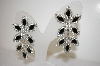 "MBA #17-517  ""Black & Clear Crystal Drop Earrings"