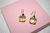 +MBA #17-557  Gold Plated Green Glass & Crystal Earrings