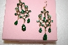 **  Monet 14K Gold Plated Green Crystal Earrings