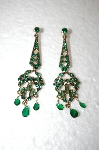 **MBA #17-476  Monet Green Crystal Earrings