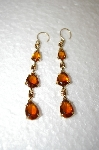**  Monet Amber Glass & Crystal Drop Earrings