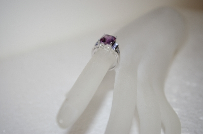 +MBA #17-625  Artist Signed  SLV Amethyst Sterling Square Cut Ring