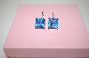 Sterling Square Cut Blue CZ Earrings