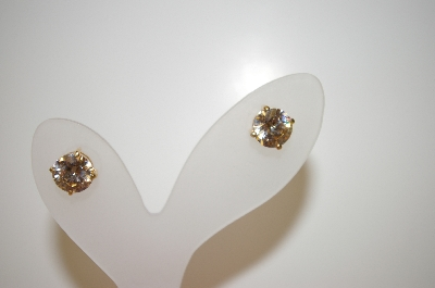 +MBA #17-554  14K Plated Large Champagne CZ Stud Earrings