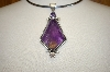 **MBA #17-614  Artist Signed Large Amethyst Sterling Pendant