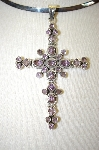 **MBA #17-613  Large Sterling Amethyst Cross
