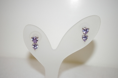 +MBA #17-452  Sterling 70 Stone Lavender CZ Heart Necklace With Matching Earrings