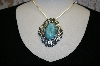 **Blue Turquoise Antique Look Artist Signed  Pin/Pendant
