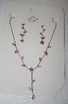 **MBA #17-090  Pink Crystal Flower Necklace With Matching Earrings