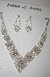 Fancy Clear Rhinestone Necklace & Earring Set