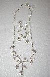 Fancy Clear Crystal Flower Necklace With Matching Earrings