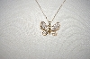 "**MBA #18-123  ""14K Yellow Gold Pave  Diamond Butterfly Pendant"