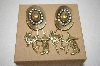 "MBA #17-711  ""Antique Gold Tone Cowboy Hat With Charms Earrings"