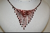 **Carol Collection Red Austrian Crystal Necklace W/Matching Pierced Earrings