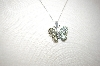 **MBA #17-208  14K White  Gold Vermeil Gemstone Butterfly Pendant With Chain
