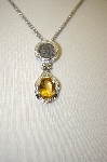 **MBA #17-134  Sterling Coin & Citrine Gemstone Pendant With Chain