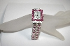 *MBA #18-035  Geneva Pink & Clear Crystal Watch