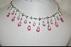 **Charles Winston Pink Briolette Cut & Clear Cz Necklace