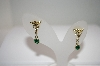 +MBA #18-020   Gold Plated Green Crystal Angel Earrings