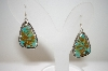 **MBA #18-078  Artist Signed Green Turquoise Sterling Earrings