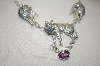 **MBA #18-478  Artist Stamped 3 Wolf Amethyst Necklace