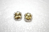 **MBA #18-440  Charles Winston Fancy Cushion Cut Canary & Clear CZ Earrings