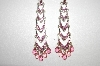 "**MBA #18-428  Designer ""LC"" Silver Plated Pink Crystal Earrings"