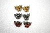 Set Of 3 Crystal Butterfly Earrings
