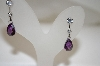 Charles Winston Clear & Purple CZ Earrings