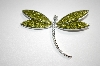 Green Crystal Dragonfly Pin