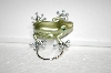 Green Enamel & Crystal Frog PIn