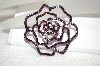 Purple Crystal Rose Pin