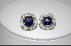 **Charles Winston Square Cut Blue & Clear Cz Pierced Earrings