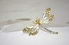 **MBA #18-337  White Enameled & Crystal Dragonfly Pin