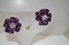 Pair Of Clip On Purple Crystal Earrings