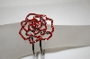 **MBA #18-258  Red Crystal Rose Spring Loaded Cuff Bracelet