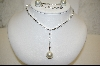 Large Glass Pearl & CZ Necklace W/ Matching Pierced Earrings
