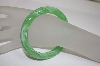 **MBA #18-285  Pale Green Mixed Glass Bangle Bracelet