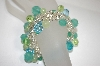 Multi Shades Of Blue & Green Acrylic  Beads Stretch Bracelet
