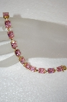 Elegant Pink CZ Cushion Cut Gold Plated Bracelet
