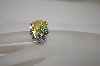 "**MBA #18-319  ""Charles Winston Yellow CZ Turtle Accent Ring"