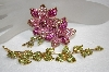 Large 2 Piece Pink & Green Crystal Brooch