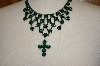 "**MBA #18-339  ""Harianna Green Austrian Crystal Cross Necklace"